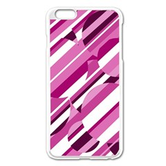 Magenta Pattern Apple Iphone 6 Plus/6s Plus Enamel White Case by Valentinaart