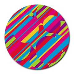 Colorful Summer Pattern Round Mousepads by Valentinaart