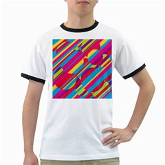 Colorful Summer Pattern Ringer T-shirts by Valentinaart