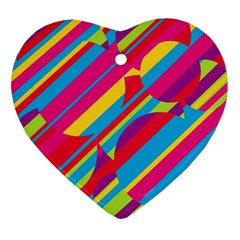 Colorful Summer Pattern Heart Ornament (2 Sides) by Valentinaart