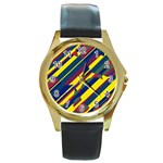 Colorful pattern Round Gold Metal Watch Front