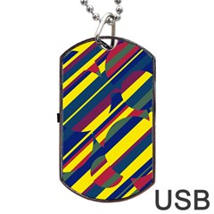 Colorful Pattern Dog Tag Usb Flash (one Side) by Valentinaart