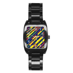Colorful Pattern Stainless Steel Barrel Watch by Valentinaart