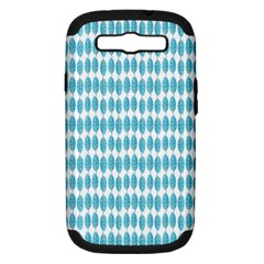 Blue Watercolour Leaf Pattern Samsung Galaxy S Iii Hardshell Case (pc+silicone) by TanyaDraws