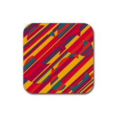 Colorful Hot Pattern Rubber Square Coaster (4 Pack)  by Valentinaart