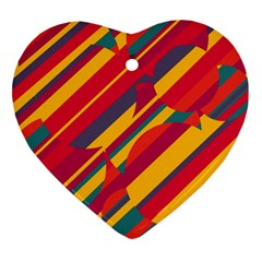 Colorful Hot Pattern Heart Ornament (2 Sides) by Valentinaart