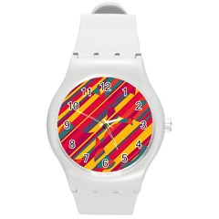 Colorful Hot Pattern Round Plastic Sport Watch (m) by Valentinaart