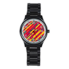 Colorful Hot Pattern Stainless Steel Round Watch by Valentinaart