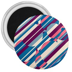 Blue And Pink Pattern 3  Magnets by Valentinaart