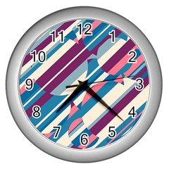 Blue And Pink Pattern Wall Clocks (silver)  by Valentinaart