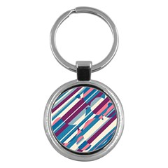 Blue And Pink Pattern Key Chains (round)  by Valentinaart