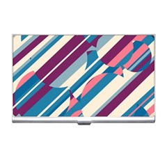Blue And Pink Pattern Business Card Holders by Valentinaart