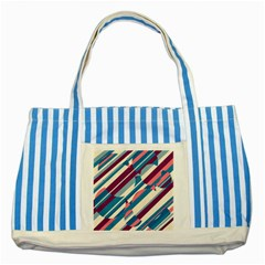 Blue And Pink Pattern Striped Blue Tote Bag by Valentinaart