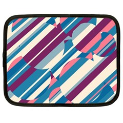 Blue And Pink Pattern Netbook Case (xl)  by Valentinaart
