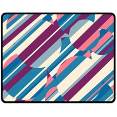 Blue And Pink Pattern Fleece Blanket (medium)