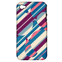 Blue And Pink Pattern Apple Iphone 4/4s Hardshell Case (pc+silicone) by Valentinaart