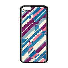 Blue And Pink Pattern Apple Iphone 6/6s Black Enamel Case by Valentinaart