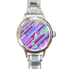 Pink, Purple And Green Pattern Round Italian Charm Watch by Valentinaart