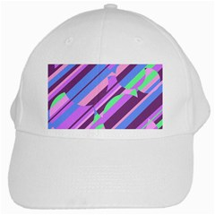Pink, Purple And Green Pattern White Cap by Valentinaart