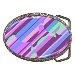 Pink, Purple And Green Pattern Belt Buckles by Valentinaart