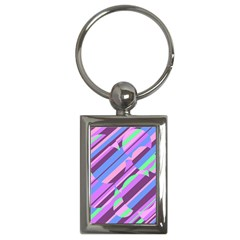 Pink, Purple And Green Pattern Key Chains (rectangle)  by Valentinaart