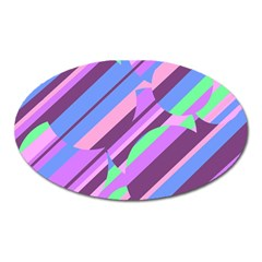 Pink, Purple And Green Pattern Oval Magnet by Valentinaart