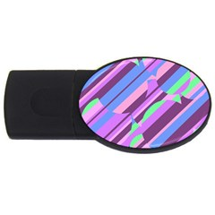 Pink, Purple And Green Pattern Usb Flash Drive Oval (4 Gb)  by Valentinaart