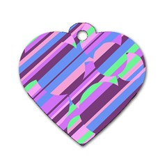Pink, Purple And Green Pattern Dog Tag Heart (one Side) by Valentinaart
