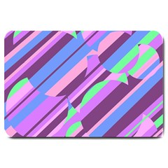 Pink, Purple And Green Pattern Large Doormat  by Valentinaart