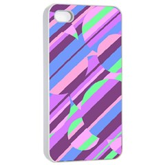 Pink, Purple And Green Pattern Apple Iphone 4/4s Seamless Case (white) by Valentinaart