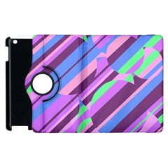 Pink, Purple And Green Pattern Apple Ipad 2 Flip 360 Case by Valentinaart