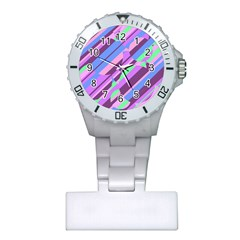 Pink, Purple And Green Pattern Plastic Nurses Watch by Valentinaart