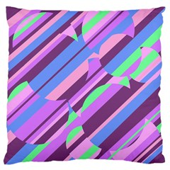Pink, Purple And Green Pattern Large Flano Cushion Case (one Side) by Valentinaart