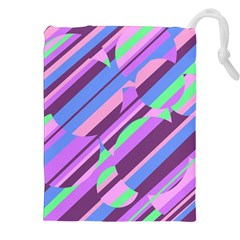 Pink, Purple And Green Pattern Drawstring Pouches (xxl) by Valentinaart
