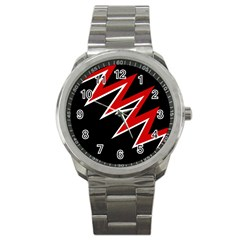 Black And Red Simple Design Sport Metal Watch by Valentinaart