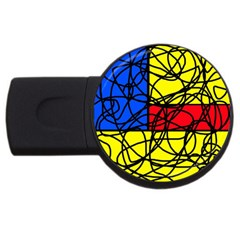 Yellow Abstract Pattern Usb Flash Drive Round (4 Gb)  by Valentinaart