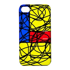 Yellow Abstract Pattern Apple Iphone 4/4s Hardshell Case With Stand by Valentinaart