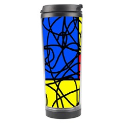 Yellow Abstract Pattern Travel Tumbler by Valentinaart