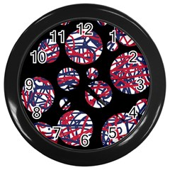 Colorful Decorative Pattern Wall Clocks (black) by Valentinaart