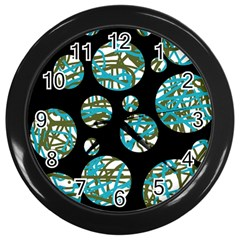 Decorative Blue Abstract Design Wall Clocks (black) by Valentinaart