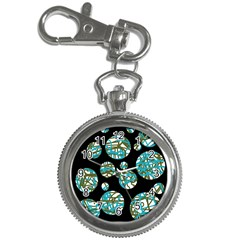 Decorative Blue Abstract Design Key Chain Watches by Valentinaart