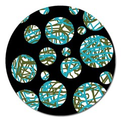 Decorative Blue Abstract Design Magnet 5  (round) by Valentinaart