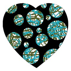 Decorative Blue Abstract Design Jigsaw Puzzle (heart) by Valentinaart