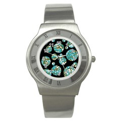 Decorative Blue Abstract Design Stainless Steel Watch by Valentinaart