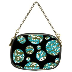 Decorative Blue Abstract Design Chain Purses (one Side)  by Valentinaart