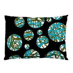 Decorative Blue Abstract Design Pillow Case by Valentinaart