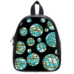 Decorative Blue Abstract Design School Bags (small)  by Valentinaart