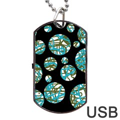 Decorative Blue Abstract Design Dog Tag Usb Flash (one Side) by Valentinaart