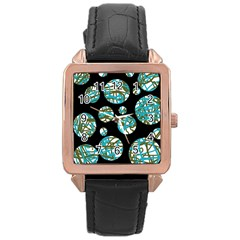 Decorative Blue Abstract Design Rose Gold Leather Watch  by Valentinaart