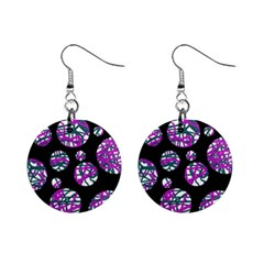 Purple Decorative Design Mini Button Earrings by Valentinaart